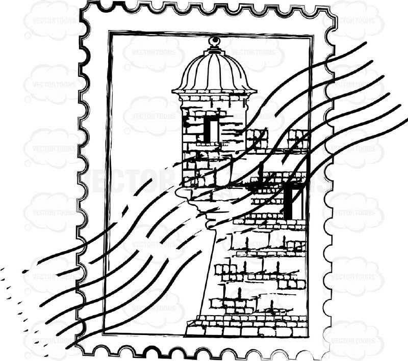 800x709 Postage Stamp Rubber Mark With Castle Building No Location Cartoon
