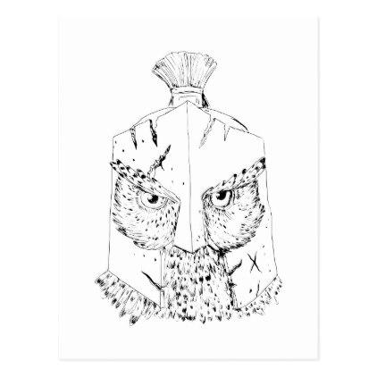 422x422 Horned Owl Spartan Helmet Drawing Postcard