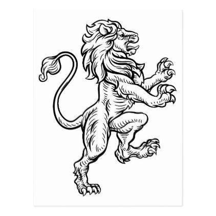 422x422 Lion Heraldic Style Drawing Postcard