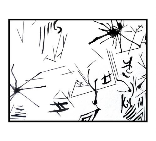 498x449 Silhouette Minimalist Drawing Abstract Art Postcard Black