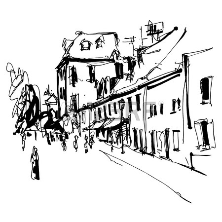 450x450 Sketch Art Panorama Of Budva Montenegro, Vintage Travel Postcard