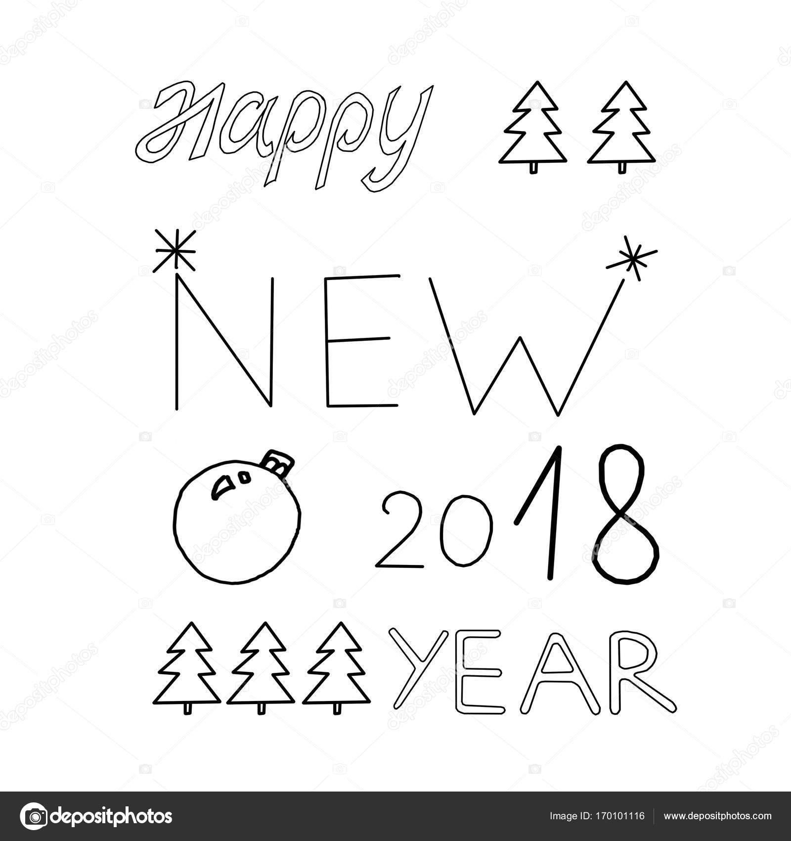 1600x1700 The Words Happy New Year, Postcard, Drawing, Painting Stock