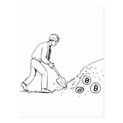 422x422 Bitcoin Miner Mining Cryptocurrency Drawing Postcard Bitcoin