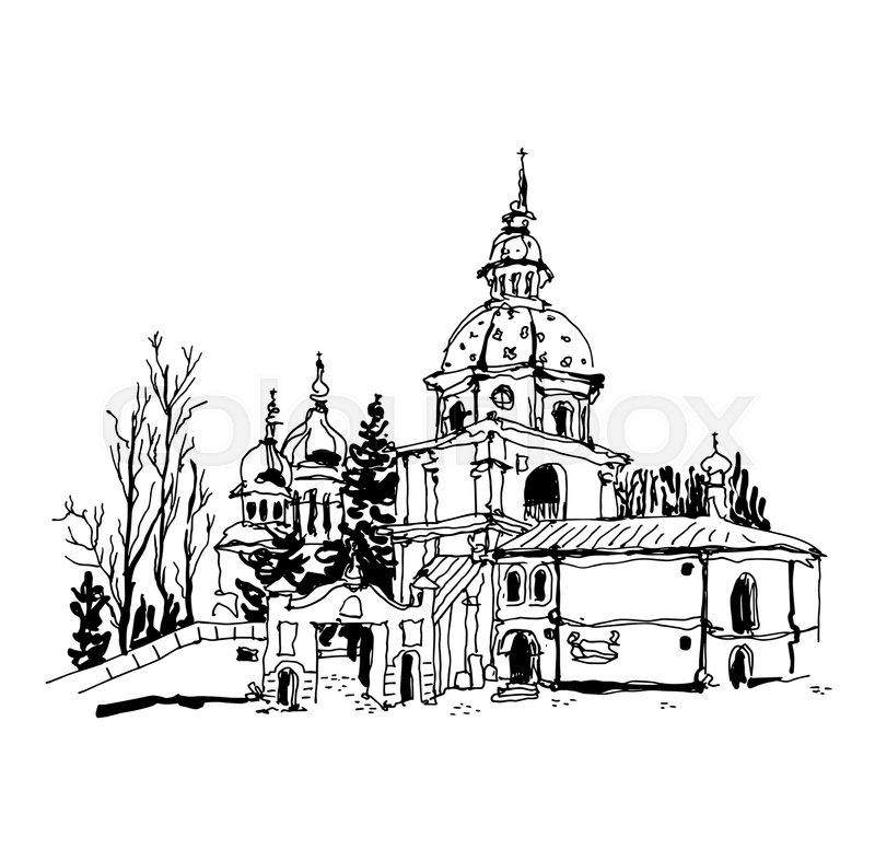 800x776 Black And White Sketch Drawing Of Vydubychi Monastery In Kyiv