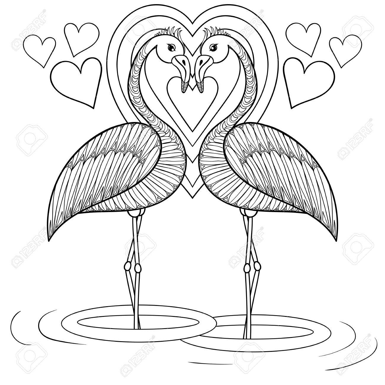 1300x1300 Coloring Page With Flamingo In Love, Zentangle Hand Drawing