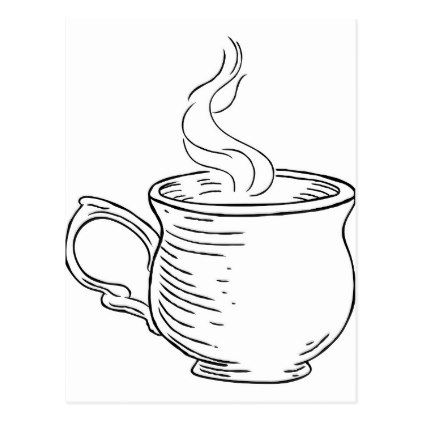 422x422 Cup Of Tea Or Coffee Vintage Retro Etched Style Postcard