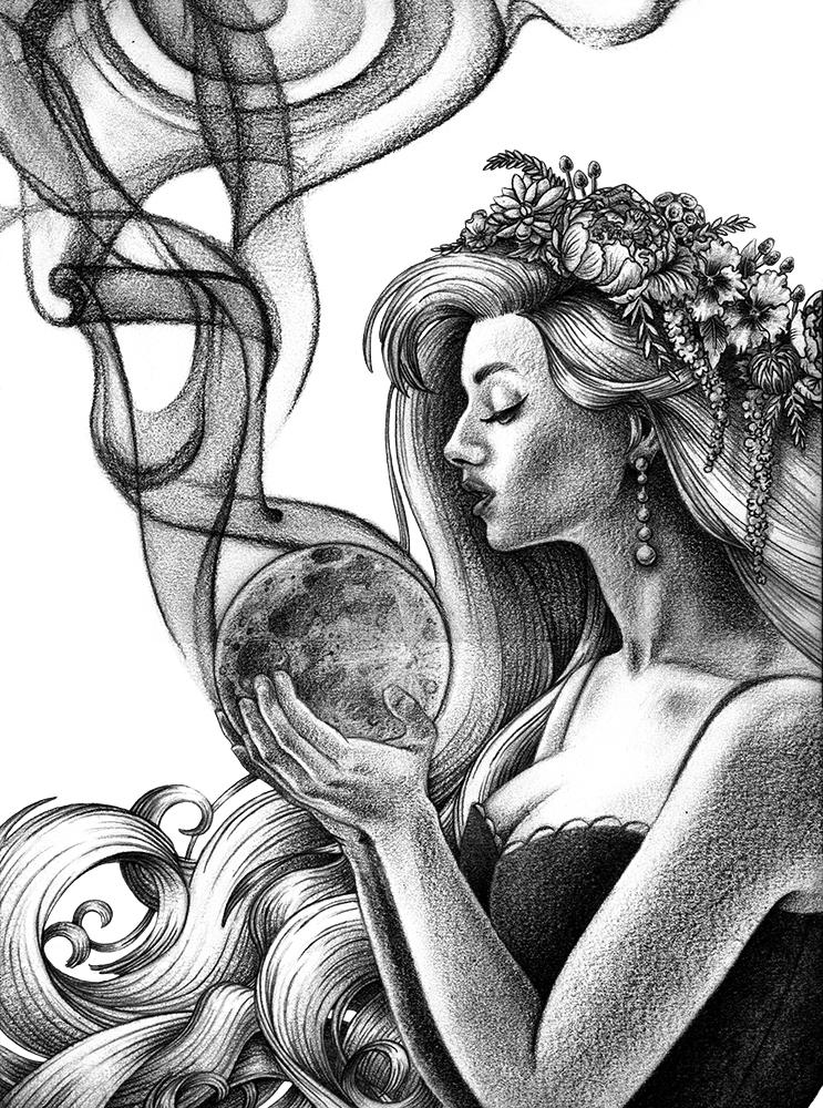 743x1000 Lauren Yurkovich Smoking Moon Drawing