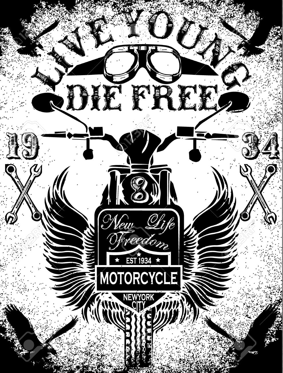 988x1300 Motorcycle Racing Typography Graphics And Poster. Skull And Old