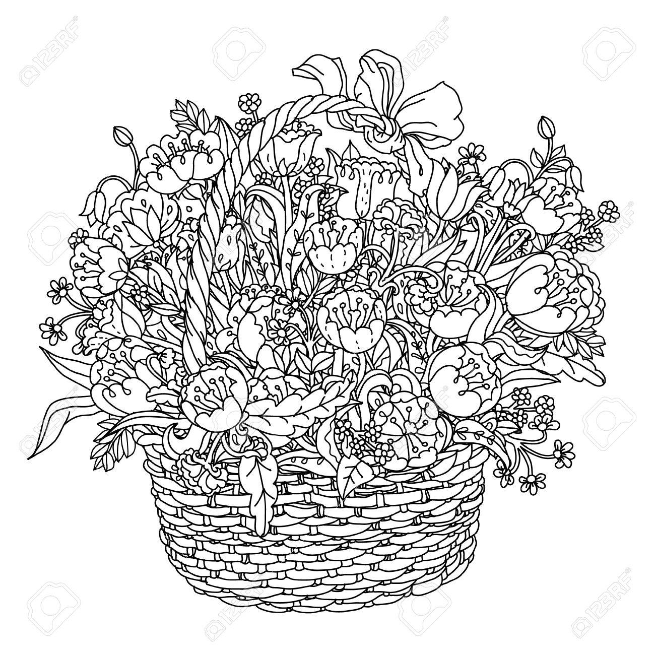 1300x1300 Hand Drawing Element. Black And White. Flowers In A Basket.