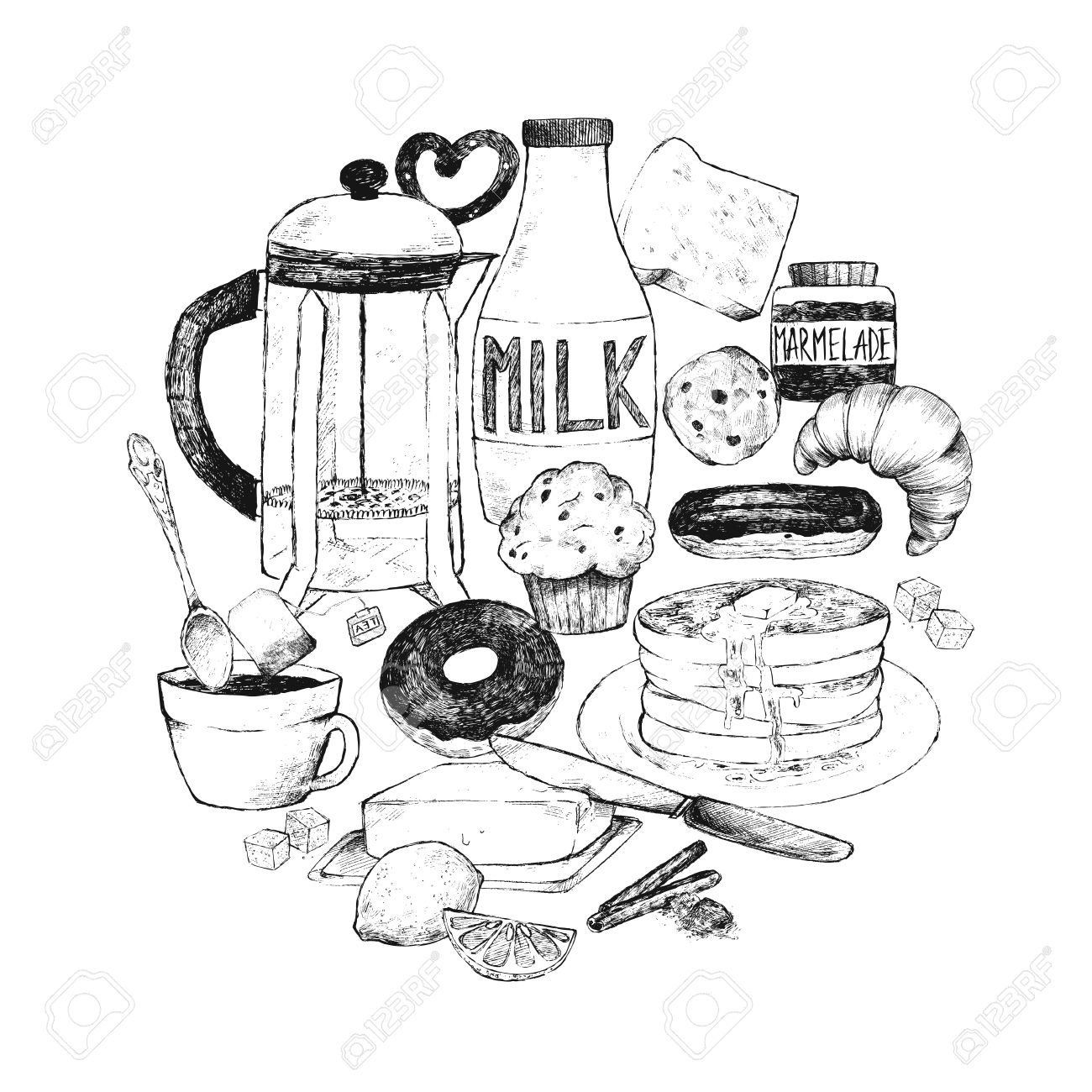1300x1300 A Set Of Dishes And Food For Breakfast. Vector Illustration