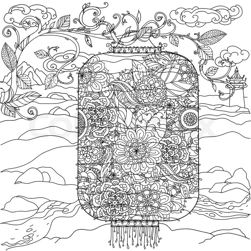 800x800 Chinese Lantern Hand Drawing. Flowers Tree And Birds. Zentangle