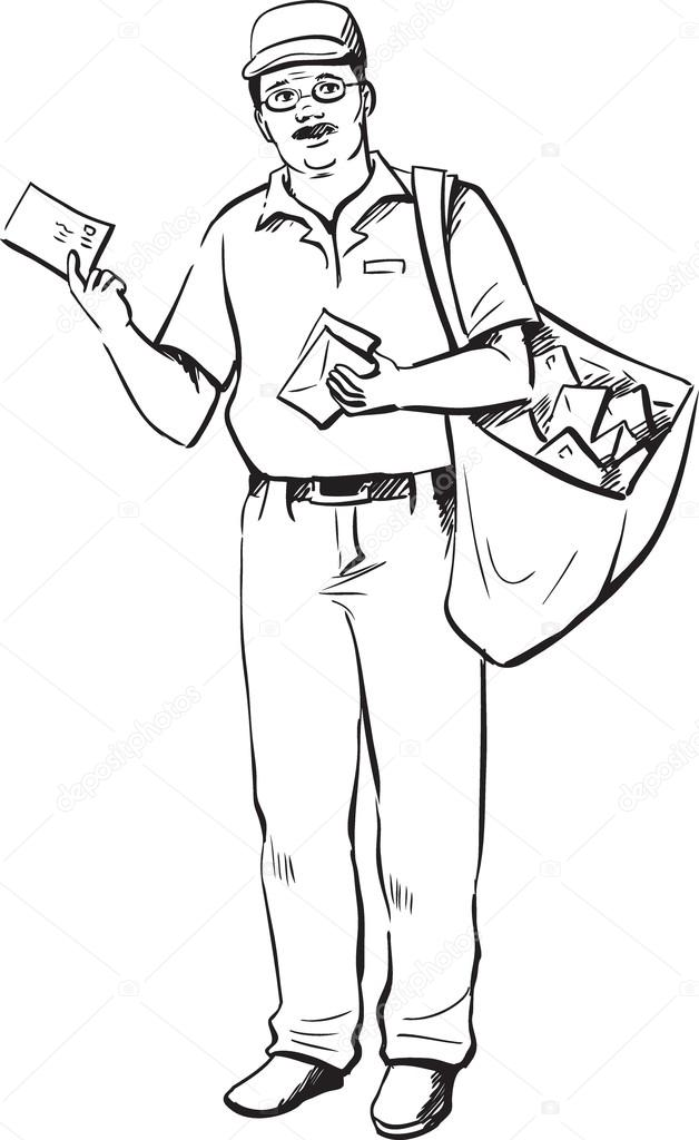 628x1024 Mailman Or Postman Stock Vector Businessdoodles