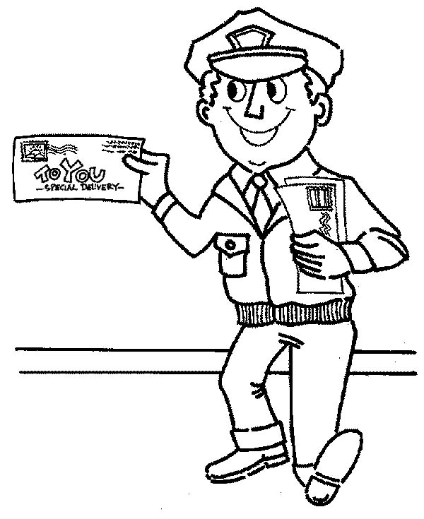 600x735 Mr Postman Is Smiling In Community Helpers Coloring Page