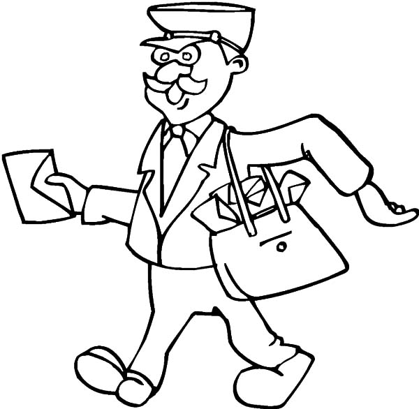 600x586 Postman Bring A Lot Of Letters On Jobs Coloring Pages Batch Coloring