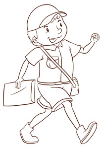 208x300 A Simple Drawing Of A Smiling Postman On A White Background
