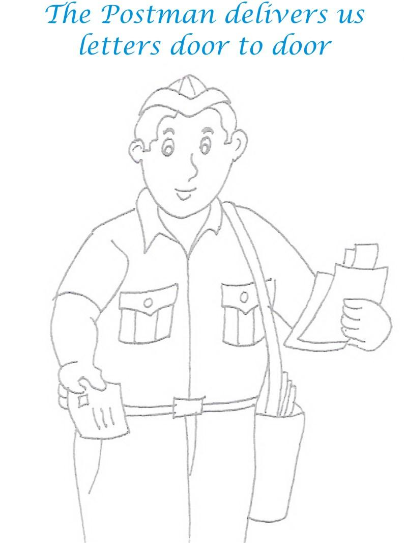800x1066 Postman Printable Coloring Page For Kids