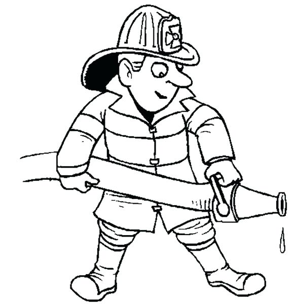 600x600 Colouring Pages Jobs Firefighter Printable Coloring Postman