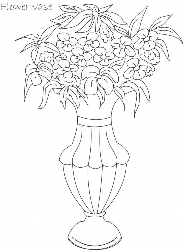 750x1024 Drawing Flower Pot Image Flower Pot Coloring Draw
