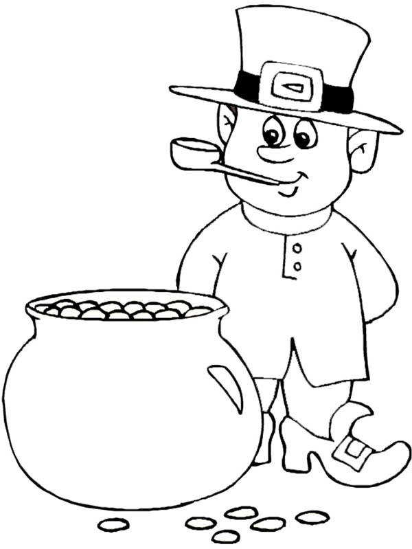 600x799 Leprechaun Beside The Pot Of Gold On St Patricks Day Coloring Page