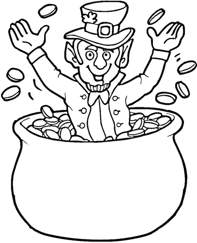 388x480 Leprechaun In Gold Coins Pot Coloring Page Free Printable