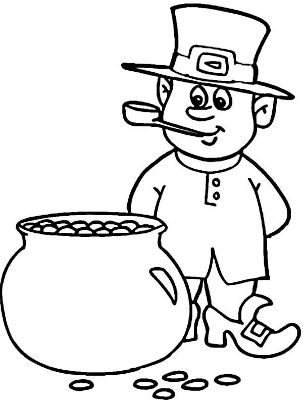 600x792 This Leprechaun Counting The Coins Inside A Pot Of Gold Coloring