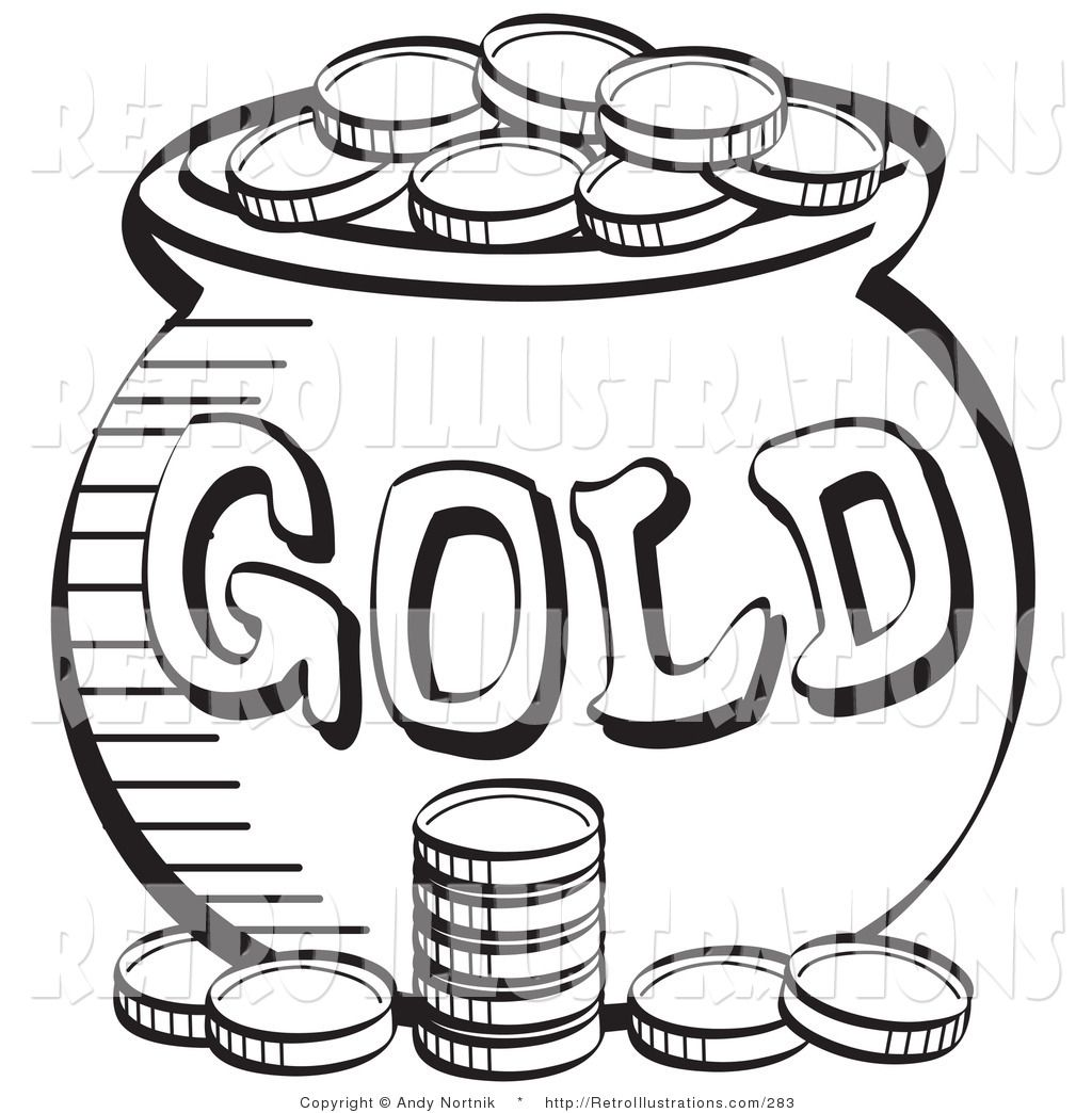1024x1044 Black And White Coloring Page A Stack Coins Near A Pot