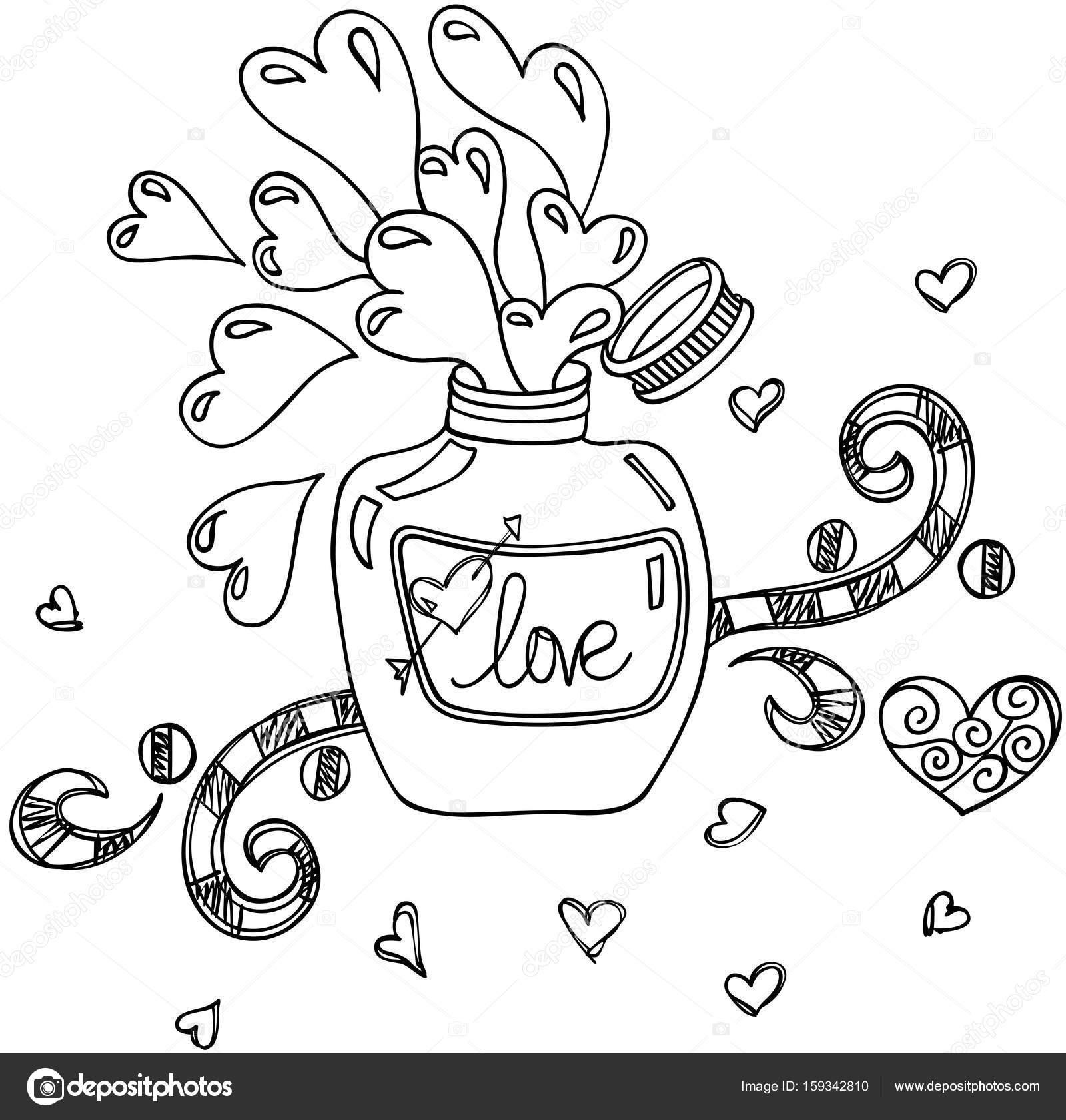 1600x1682 Love Potion Bottle Doodle Style Stock Vector Socris79