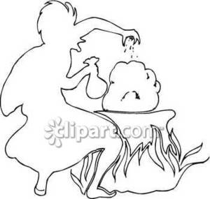 300x285 Outline Drawing Of Witch Or Wizard Sprinkling Potion Into