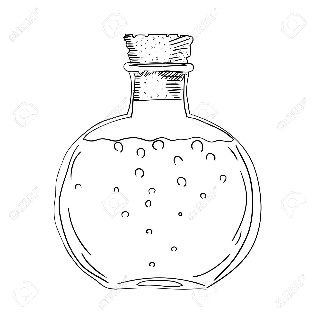 1300x1300 Sketch Drawing Of The Bottle With A Cork. Isolated Object