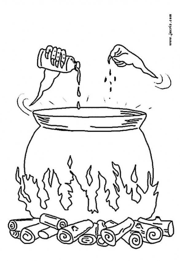 586x850 Sorceress Magic Potion Coloring Pages