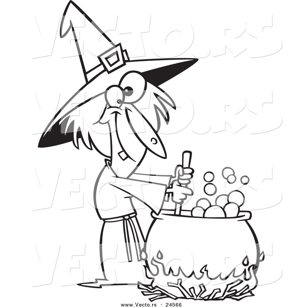 1024x1044 Vector Of A Cartoon Warted Witch Stirring Her Potion