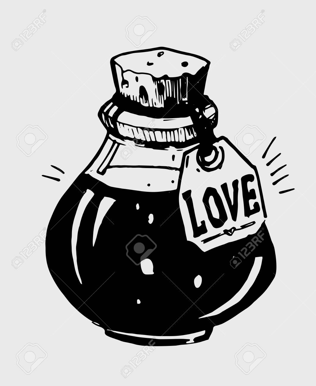 1063x1300 Bottle Of Love Potion. Hand Drawn Illustration Converted To Vector