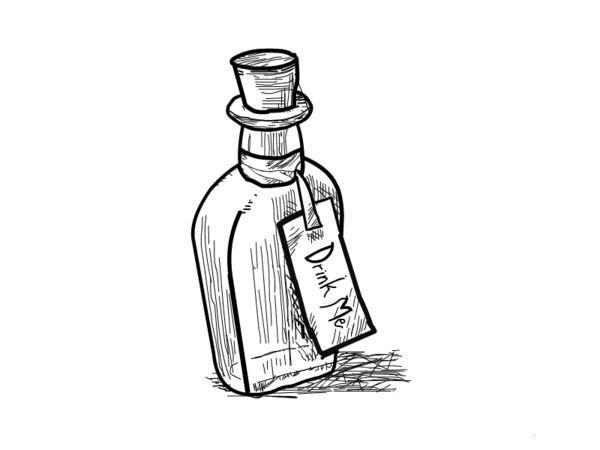 600x450 Alice In Wonderland Illustrations Anthropomorphic Drink Me Bottle