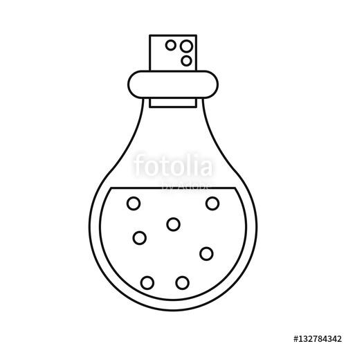 500x500 Bottle Elixir Love Potion Line Vector Illustration Eps 10 Stock