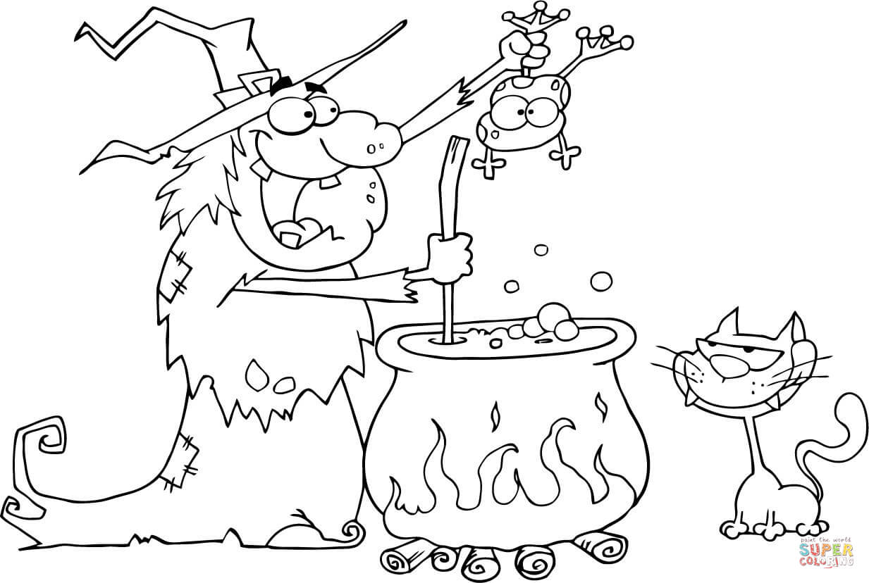 1233x828 Crazy Witch With Black Cat Holding A Frog And Preparing A Potion