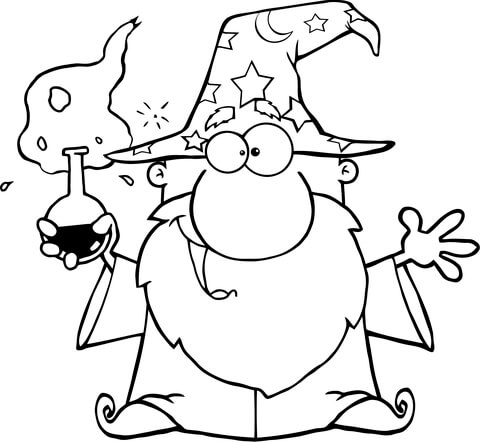 480x442 Crazy Wizard Holding A Green Magic Potion Coloring Page Free