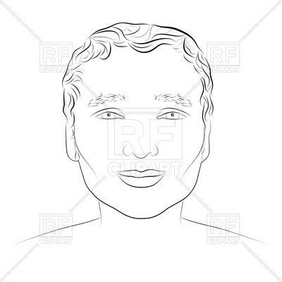400x400 Drawing Sketch Of Young Attractive Man