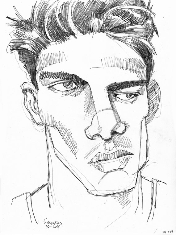 570x762 Expressionist Male Portrait 11x14 Pencil Drawing