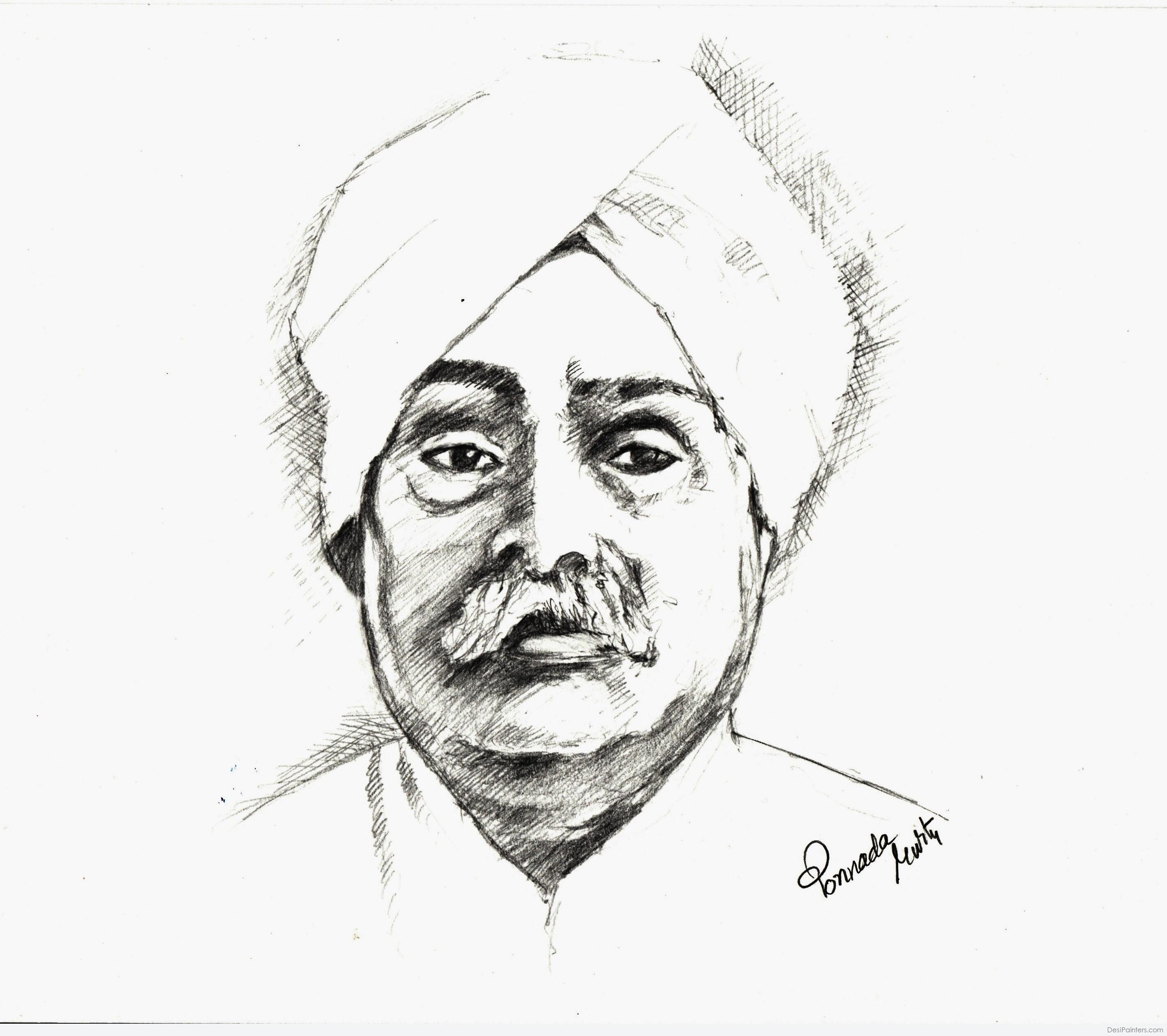 2840x2521 Pencil Portrait Indian Freedom Fighter Pencil Portrait