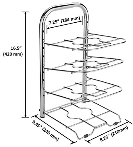 453x500 Bth Height Adjustable 12 Inch Skillet Pan Pot Organizer Rack Large
