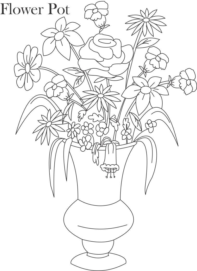 819x1126 A Pot With Flower , Pencil Design Drawing Flower Pots, Face Flower