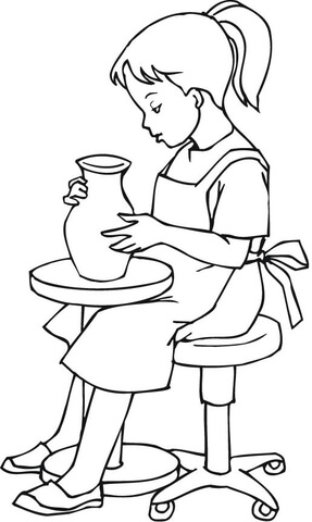 287x480 A Little Girl Doing Pottery Coloring Page Free Printable