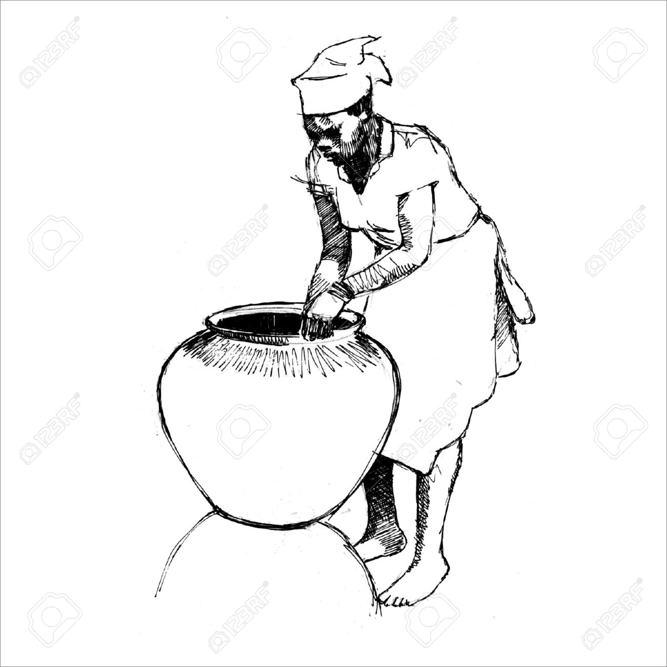 1300x1300 African Woman Making Pottery Royalty Free Cliparts, Vectors,