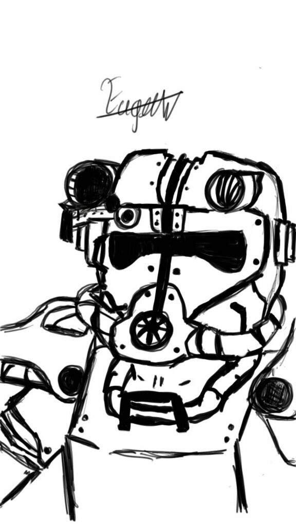 576x1024 Power Armor Bos Drawing Fallout Amino