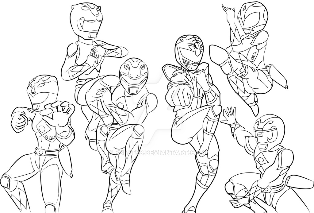1024x694 Mighty Morphin Power Rangers Line Art By Bsmit93