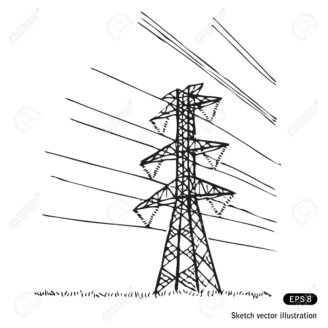 1300x1300 Power Lines. Hand Drawn Isolated On White Royalty Free Cliparts
