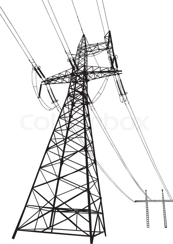 570x800 Power Lines And Electric Pylons Stock Vector Colourbox