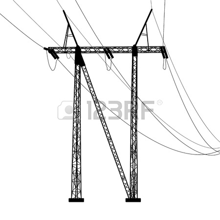 450x450 Silhouette Of High Voltage Power Lines Royalty Free Cliparts