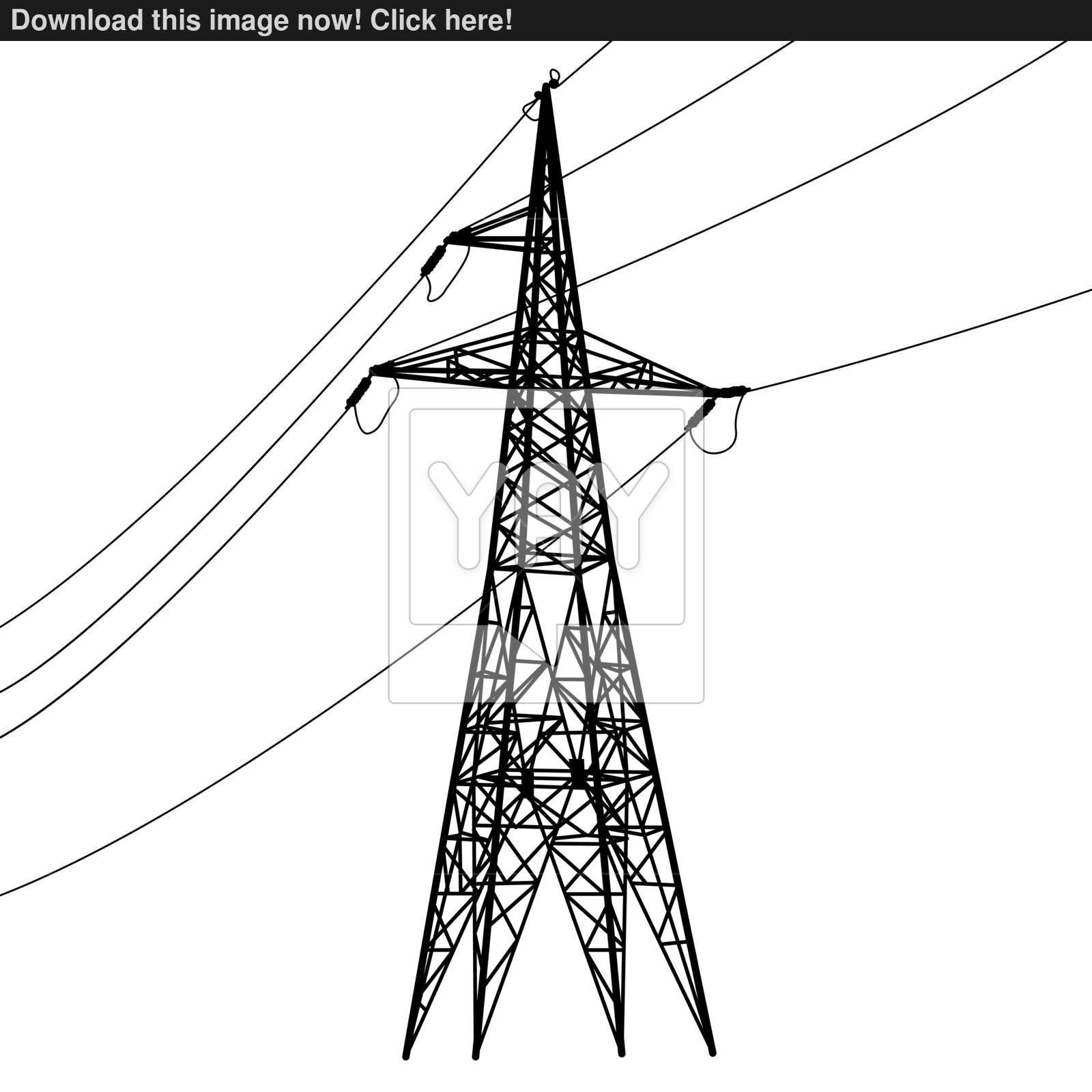 1600x1600 Silhouette Of High Voltage Power Lines. Vector