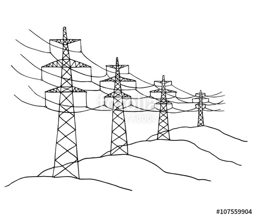 500x425 Cartoon Power Lines Delivering Energy Standing In A Row. Sketch